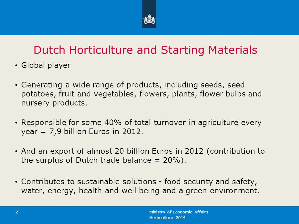 Dutch Horticulture and Starting Materials