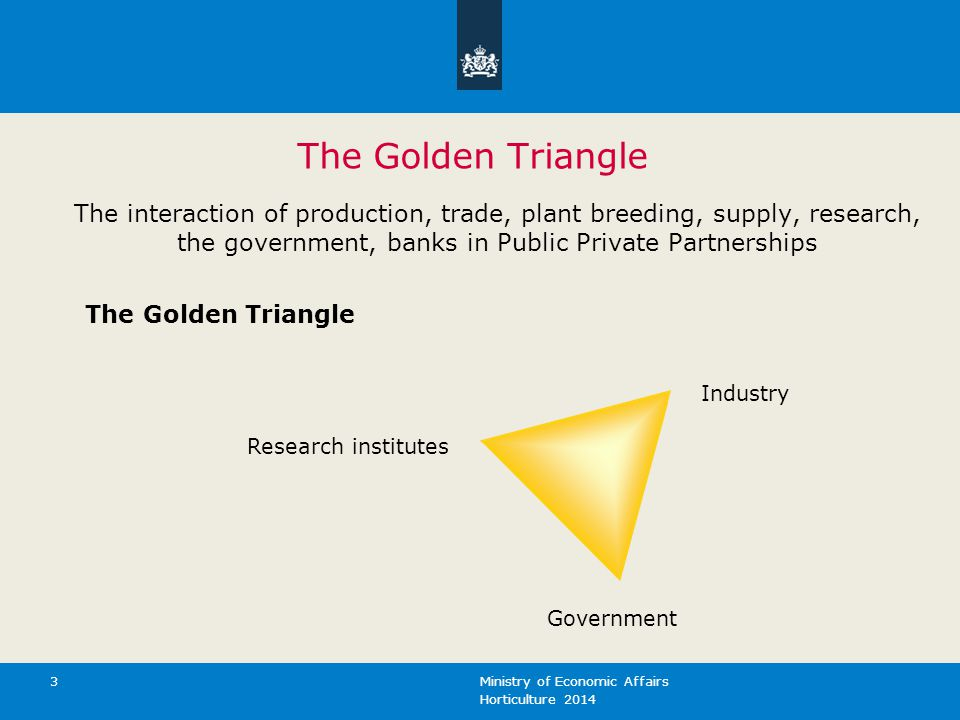 The Golden Triangle The interaction of production, trade, plant breeding, supply, research, the government, banks in Public Private Partnerships.