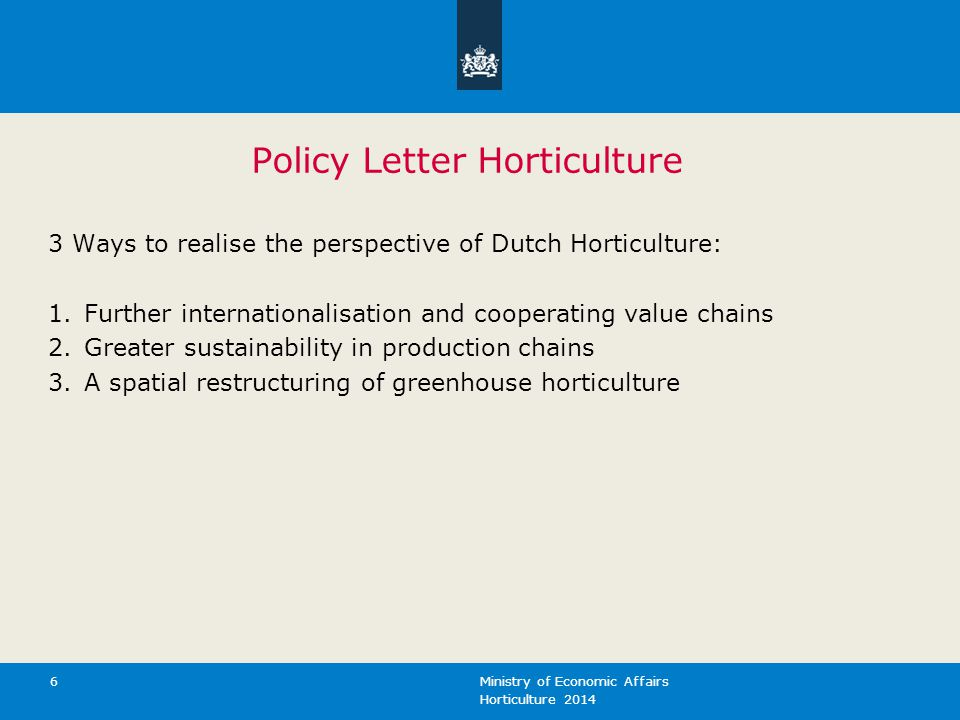 Policy Letter Horticulture
