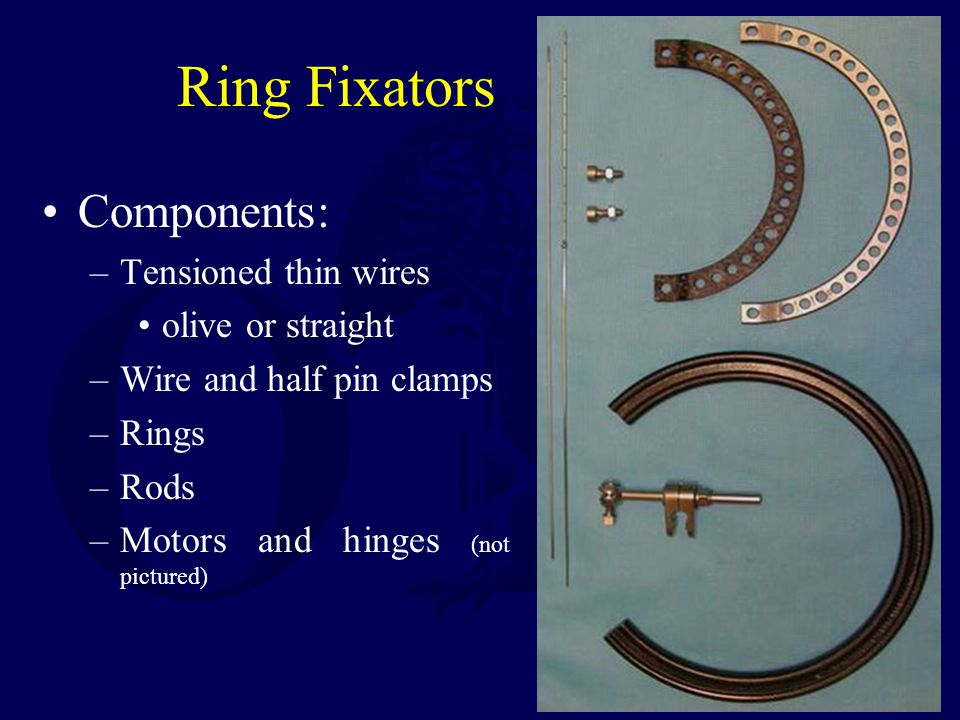 Ring Fixators Components: Tensioned thin wires olive or straight