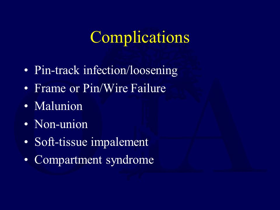 Complications Pin-track infection/loosening Frame or Pin/Wire Failure