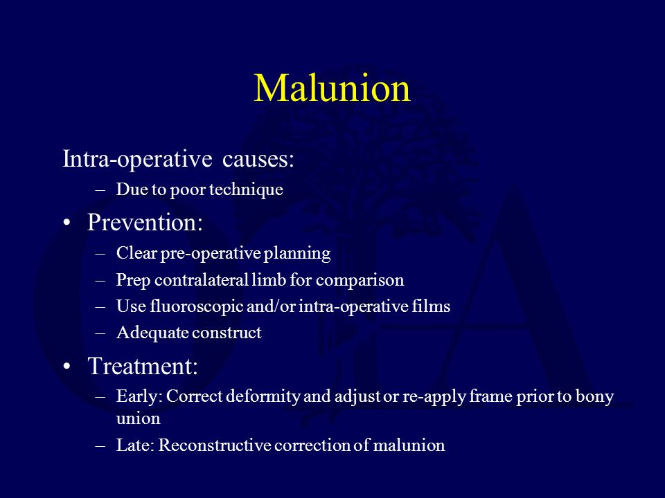 Malunion Intra-operative causes: Prevention: Treatment: