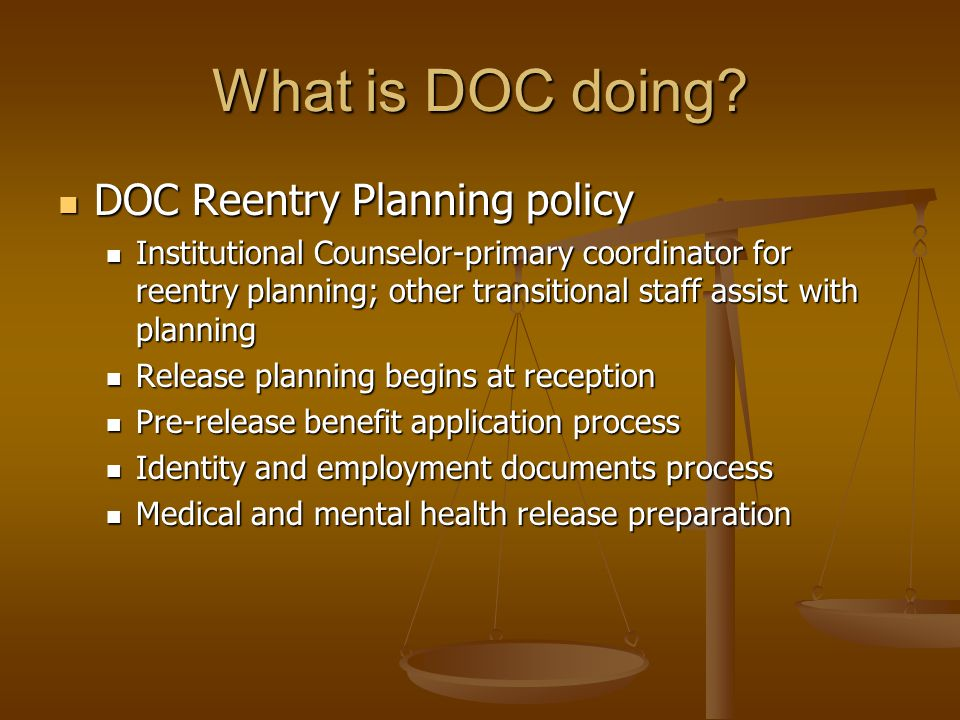 What is DOC doing DOC Reentry Planning policy
