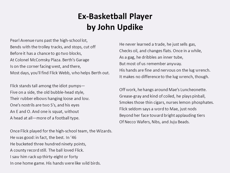 an analysis of the poem ex basketball player by john updike Ex basketball player figurative language analysis of ex basketball player by john updike owlcation, poetic style in ex basketball player updike laces this poem with proper diction, figurative language.