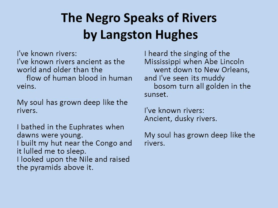 The Negro Speaks of Rivers by Langston Hughes