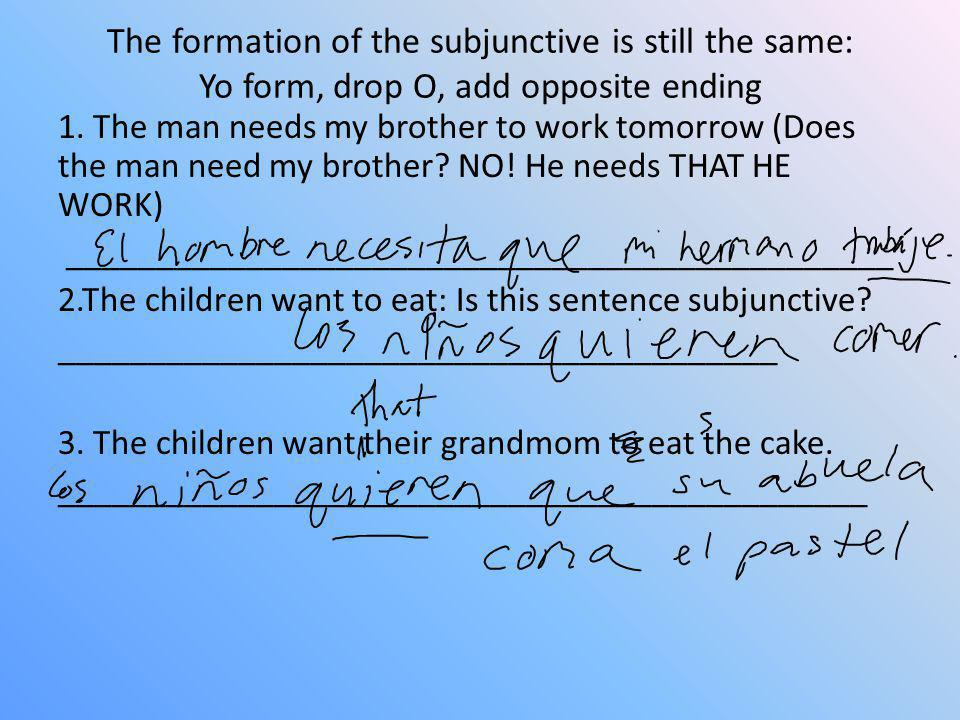 The formation of the subjunctive is still the same: Yo form, drop O, add opposite ending
