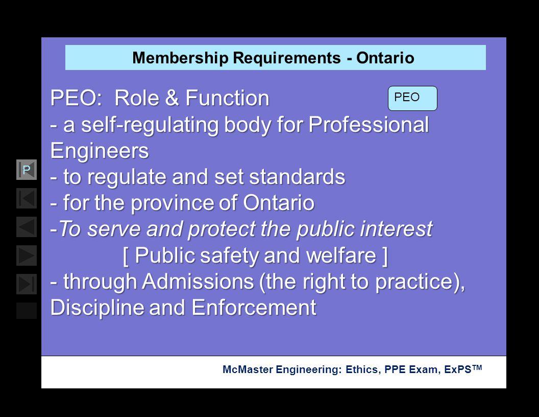 Membership Requirements - Ontario