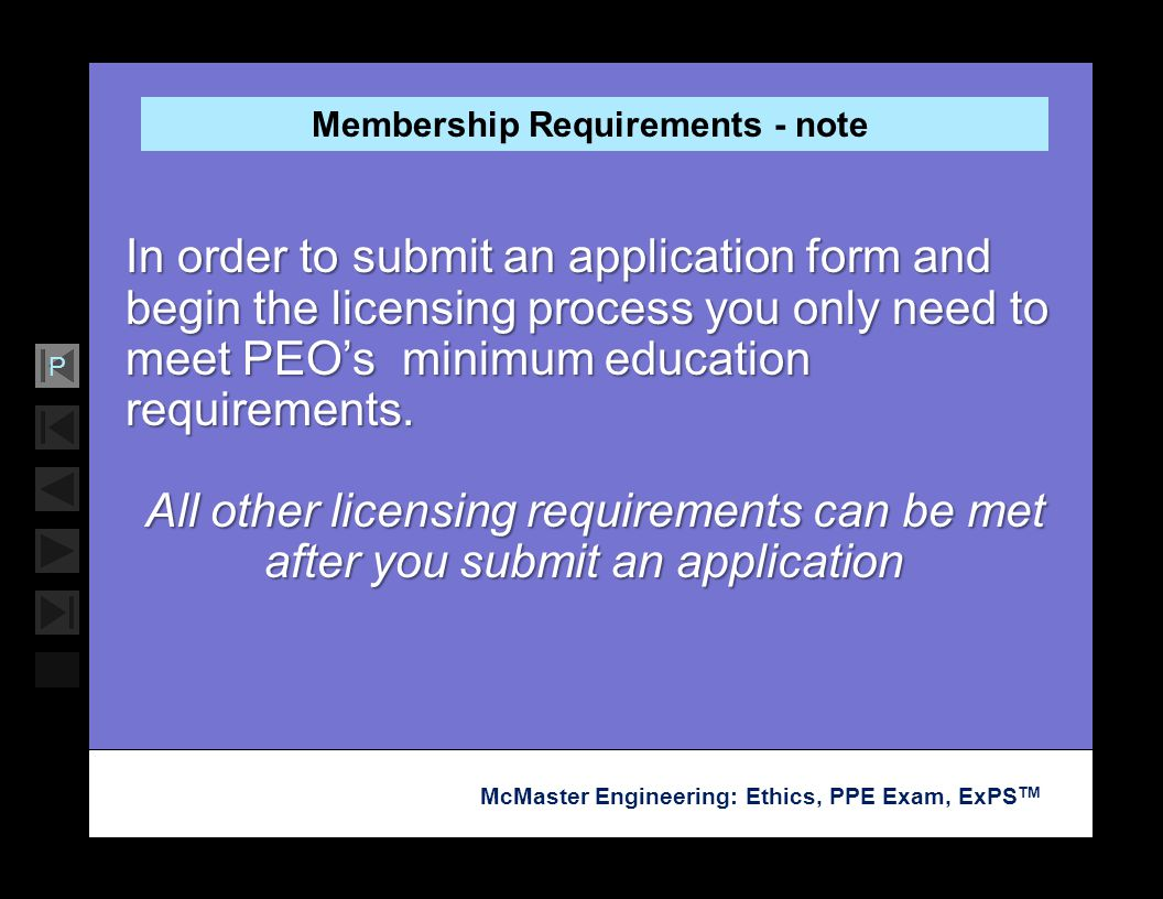 Membership Requirements - note