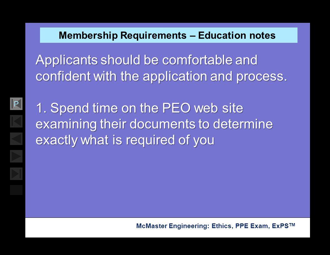 Membership Requirements – Education notes