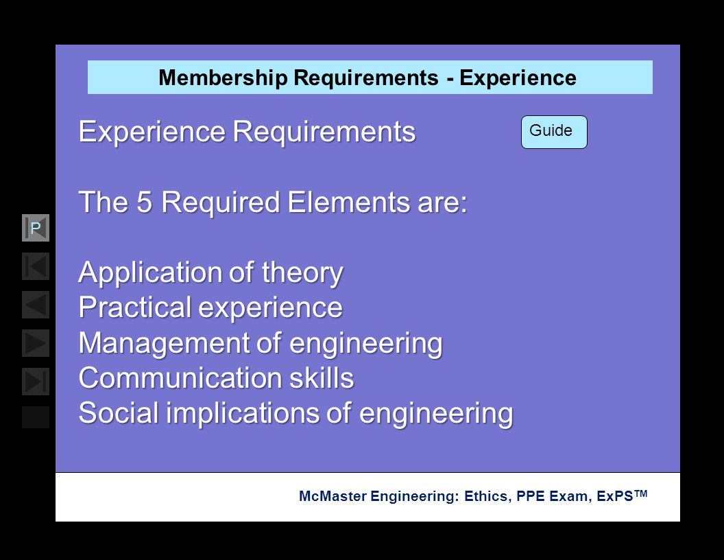 Membership Requirements - Experience