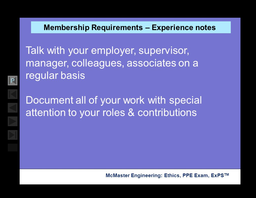 Membership Requirements – Experience notes