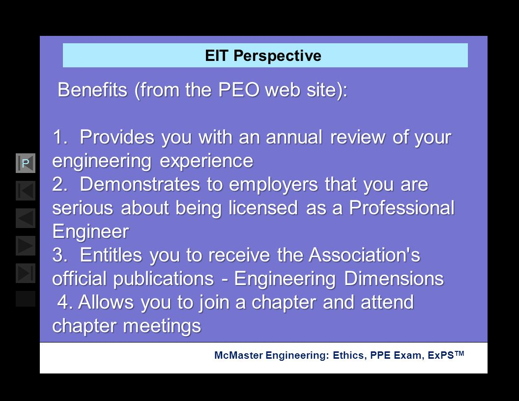 Benefits (from the PEO web site):