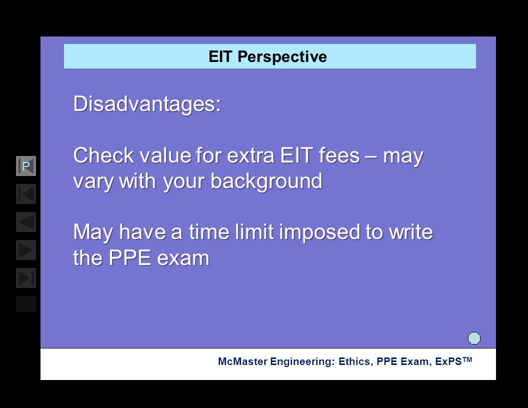 Check value for extra EIT fees – may vary with your background
