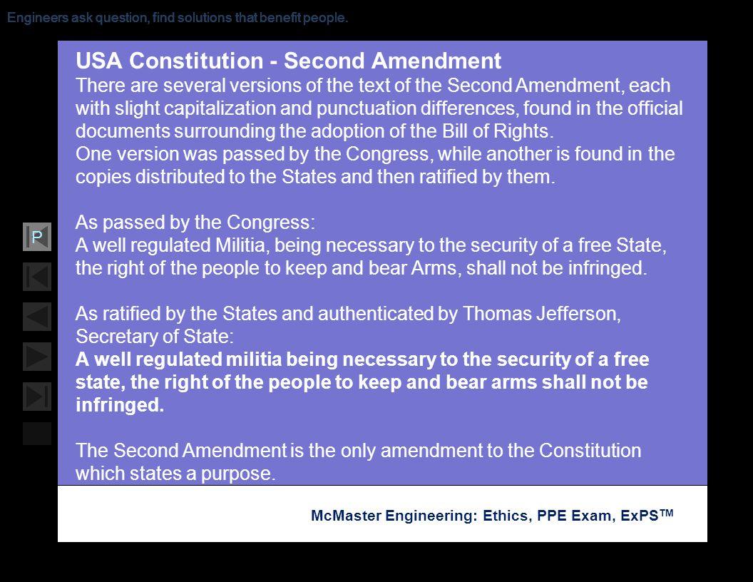 USA Constitution - Second Amendment