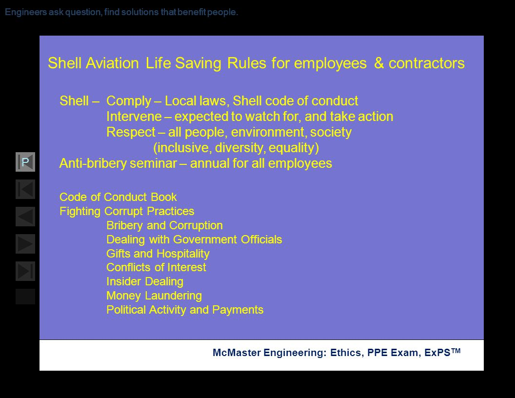 Shell Aviation Life Saving Rules for employees & contractors
