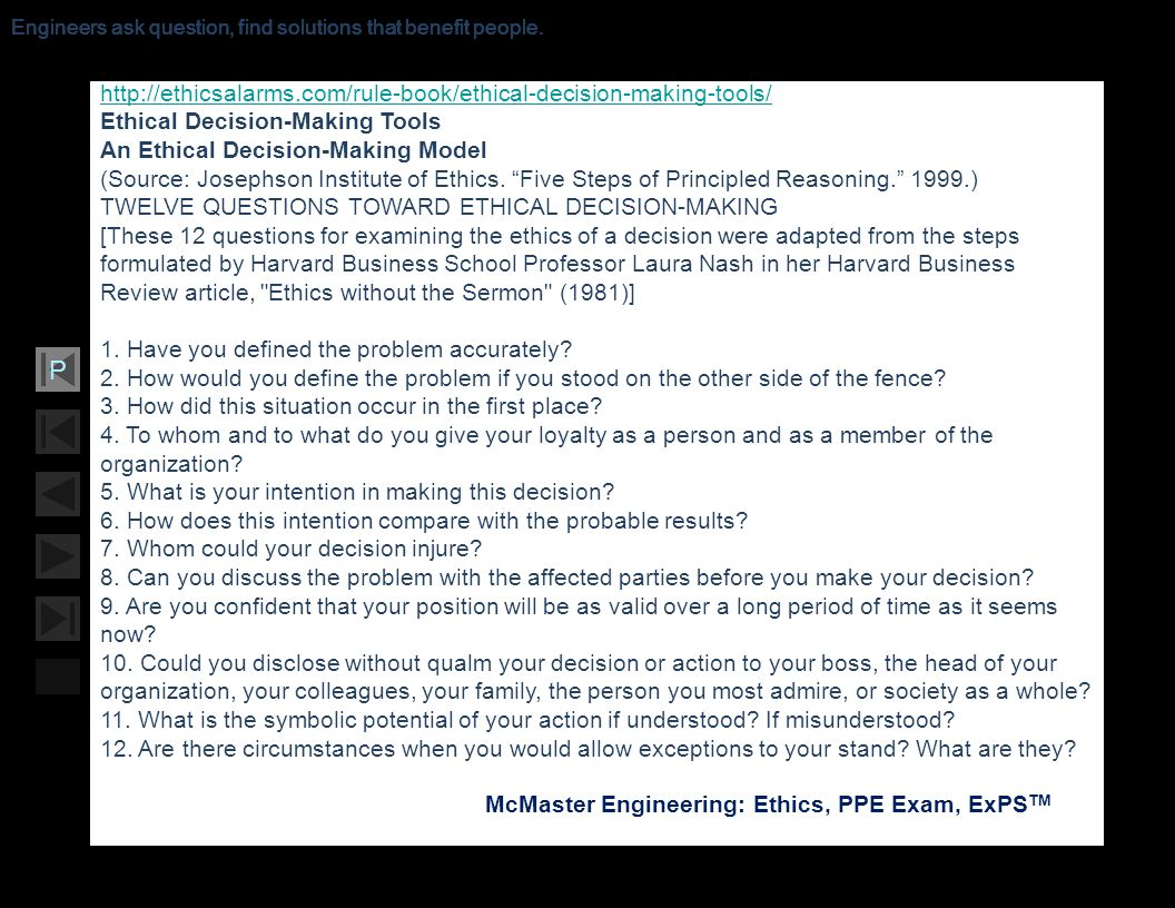 Ethical Decision-Making Tools An Ethical Decision-Making Model