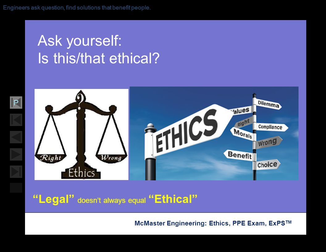 Ask yourself: Is this/that ethical