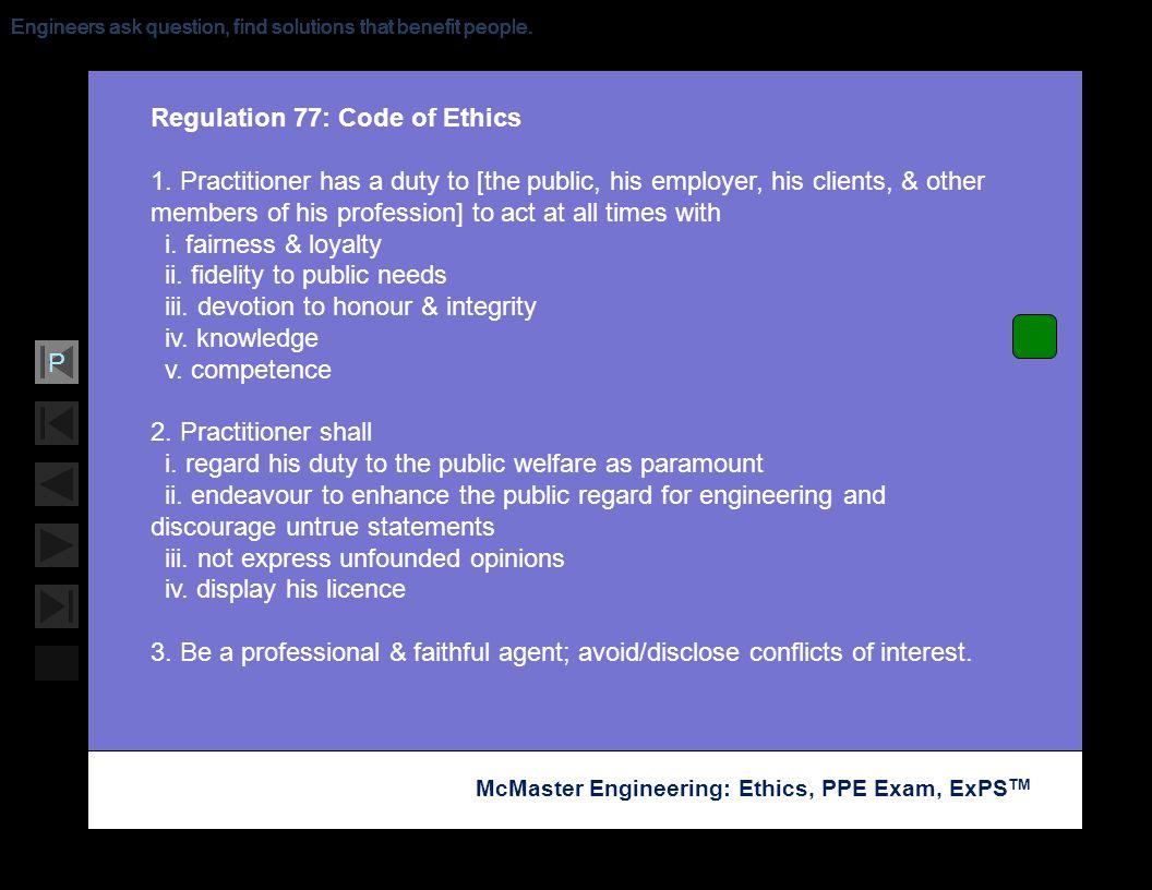 Regulation 77: Code of Ethics