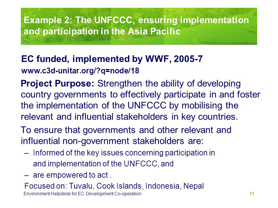 Example 2: The UNFCCC, ensuring implementation and participation in the Asia Pacific