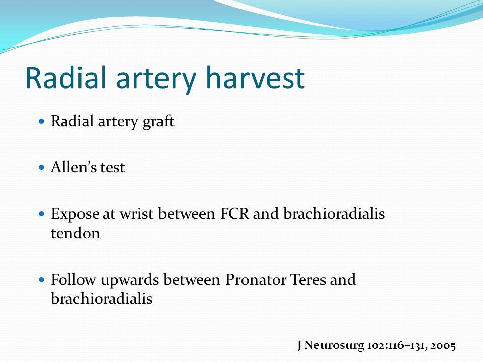 Radial artery harvest Radial artery graft Allen's test