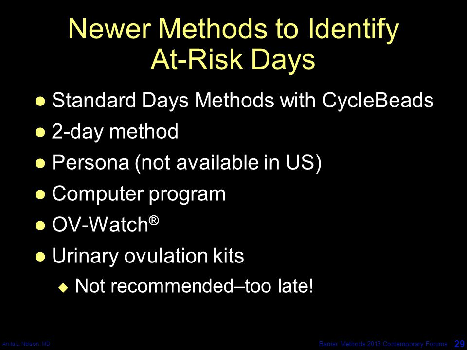 Newer Methods to Identify At-Risk Days