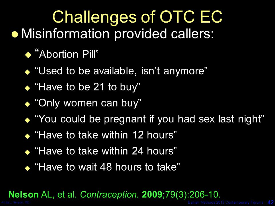 Challenges of OTC EC Misinformation provided callers: Abortion Pill