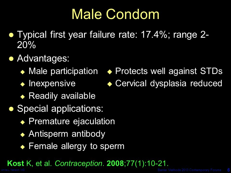 Male Condom Typical first year failure rate: 17.4%; range 2-20%