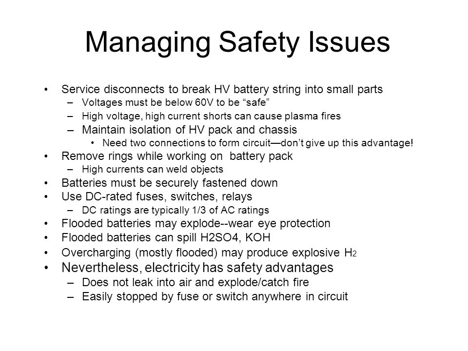 Managing Safety Issues