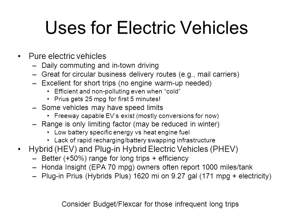 Uses for Electric Vehicles
