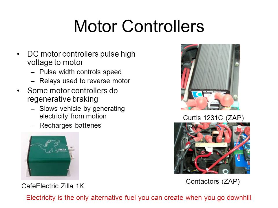 Motor Controllers DC motor controllers pulse high voltage to motor