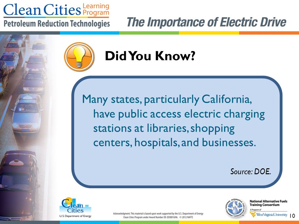 Many states, particularly California, have public access electric charging stations at libraries, shopping centers, hospitals, and businesses.