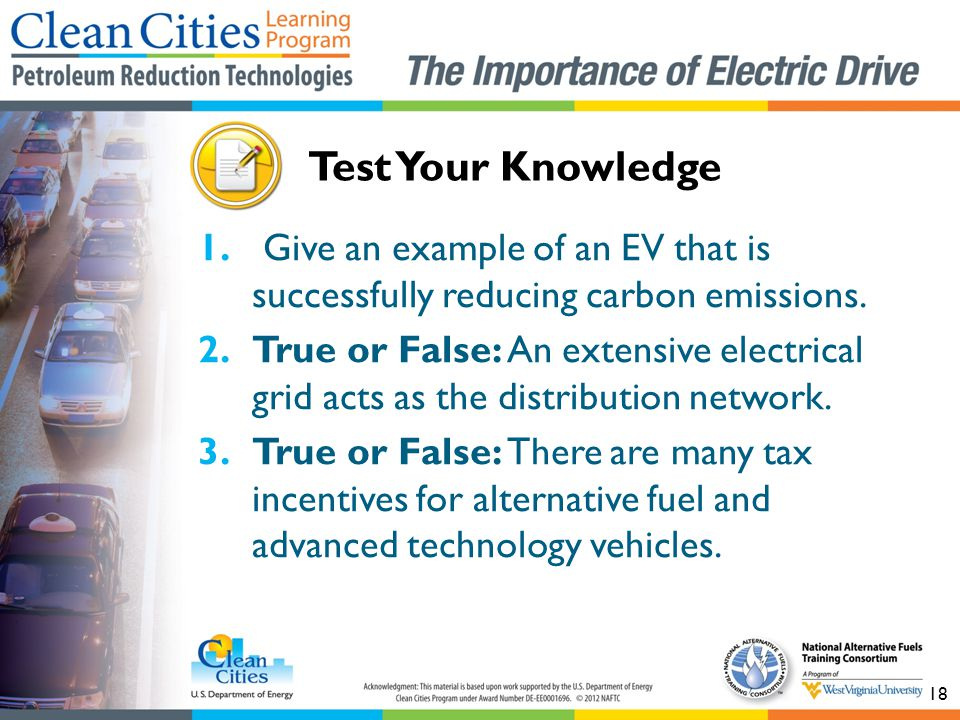 Test Your Knowledge Give an example of an EV that is successfully reducing carbon emissions.