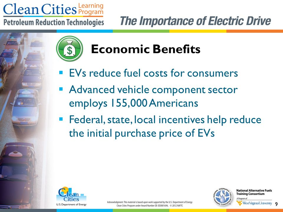 Economic Benefits EVs reduce fuel costs for consumers