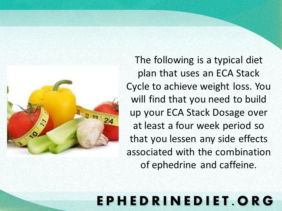 The following is a typical diet plan that uses an ECA Stack Cycle to achieve weight loss.