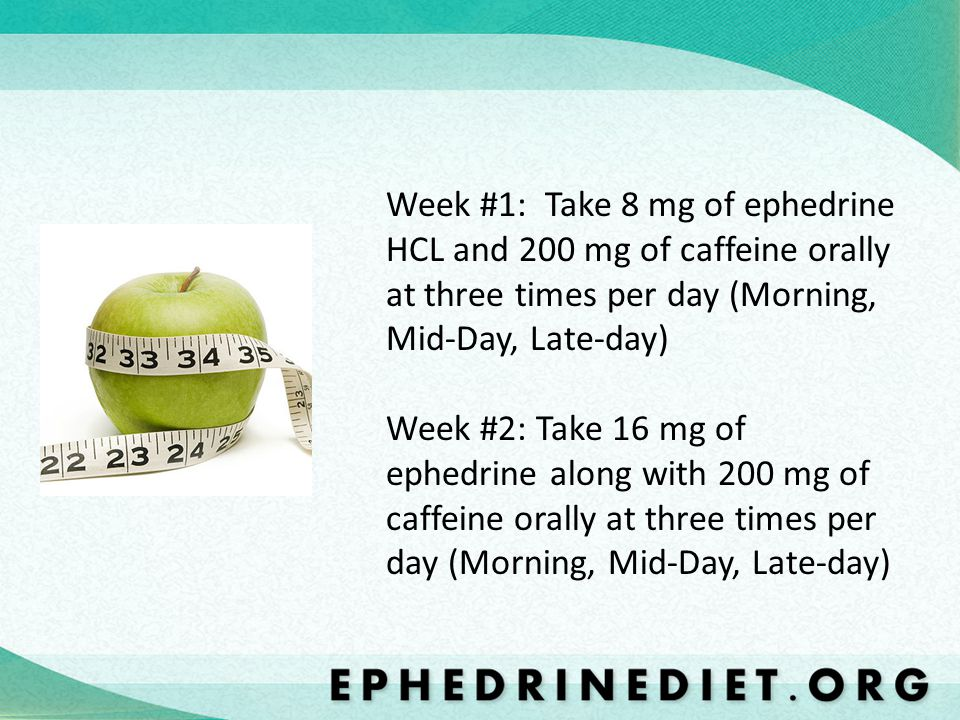 Week #1: Take 8 mg of ephedrine HCL and 200 mg of caffeine orally at three times per day (Morning, Mid-Day, Late-day)