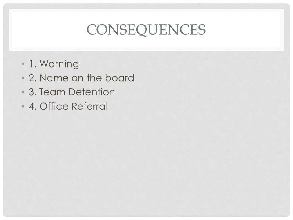 Consequences 1. Warning 2. Name on the board 3. Team Detention