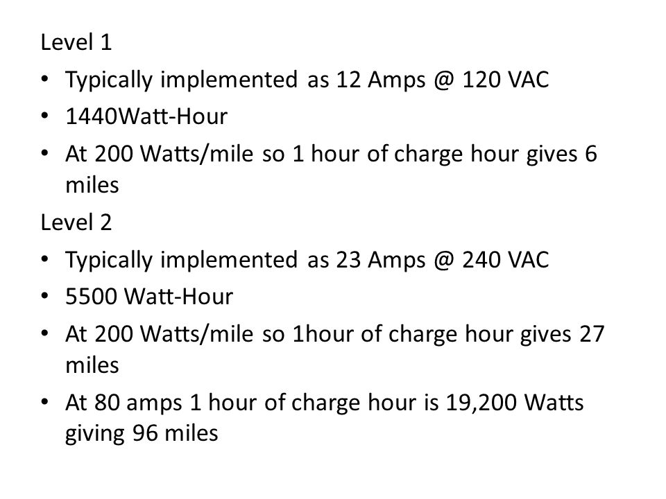 Level 1 Typically implemented as 12 Amps @ 120 VAC. 1440Watt-Hour. At 200 Watts/mile so 1 hour of charge hour gives 6 miles.
