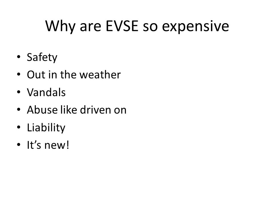 Why are EVSE so expensive