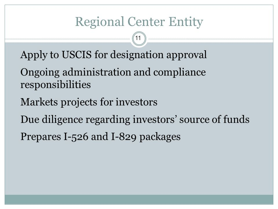 Regional Center Entity