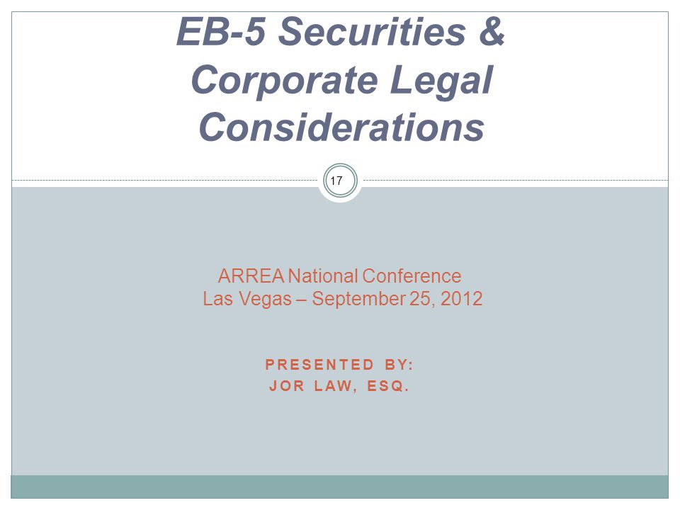 EB-5 Securities & Corporate Legal Considerations