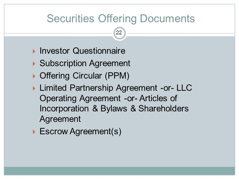 Securities Offering Documents