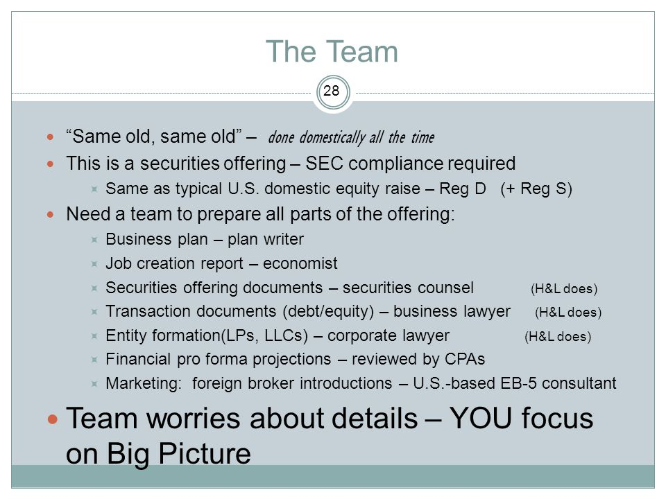 The Team Team worries about details – YOU focus on Big Picture