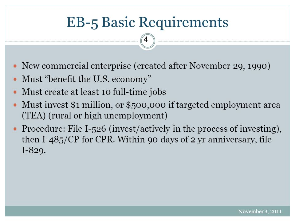 EB-5 Basic Requirements