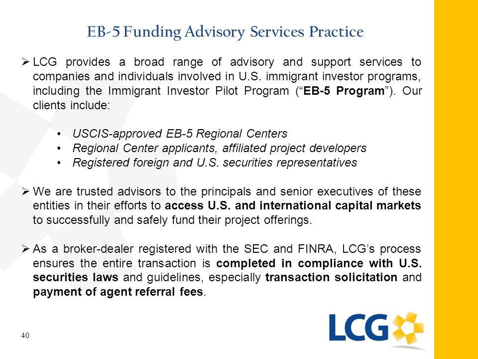 EB-5 Funding Advisory Services Practice