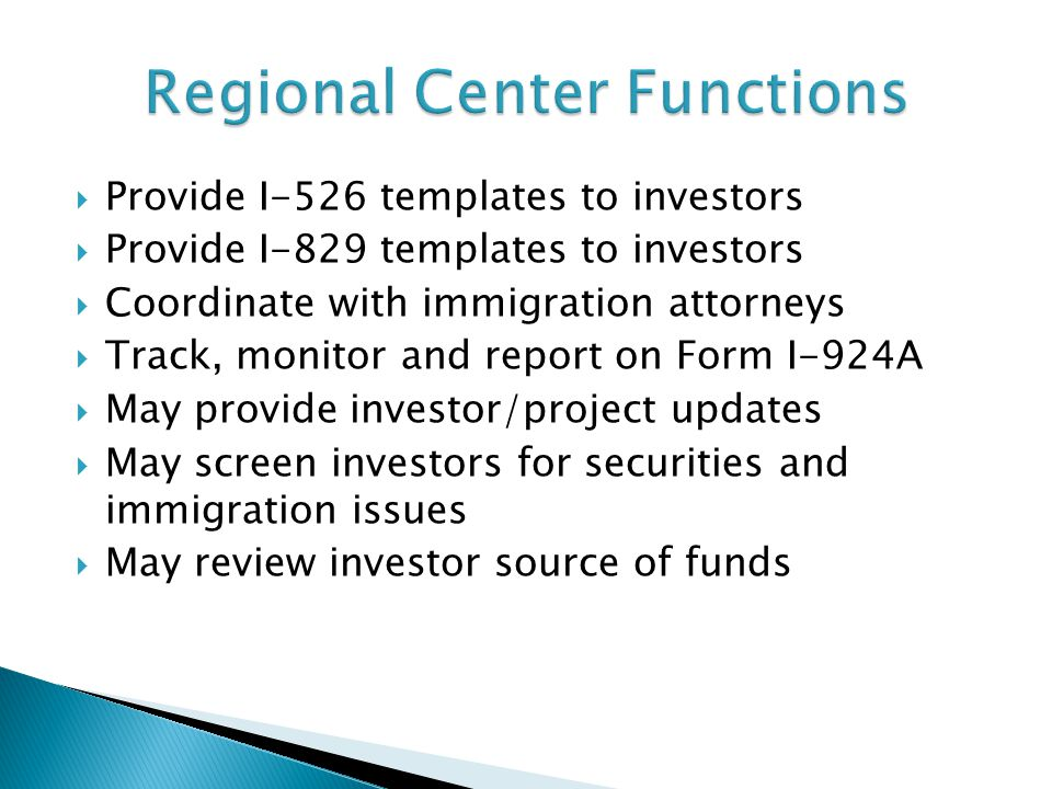 Regional Center Functions