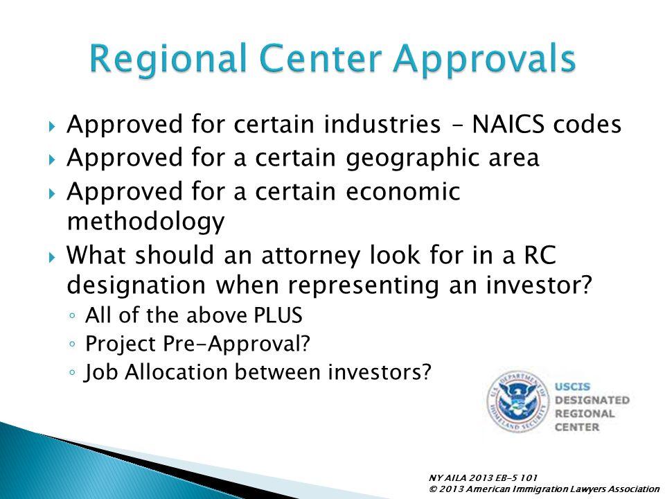 Regional Center Approvals