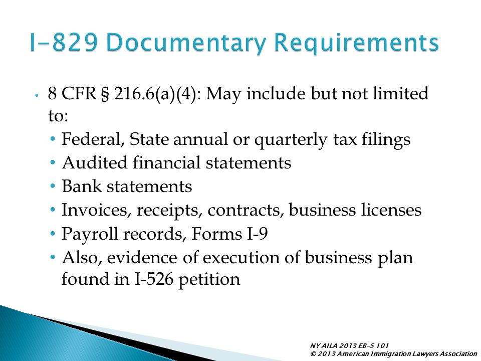 I-829 Documentary Requirements