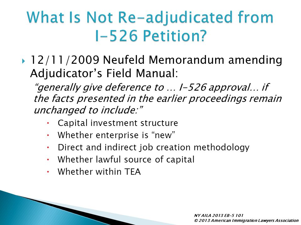 What Is Not Re-adjudicated from I-526 Petition