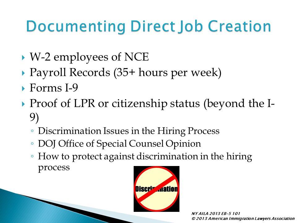Documenting Direct Job Creation
