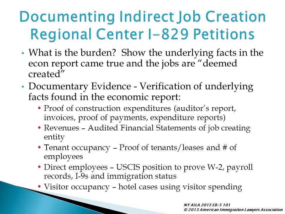 Documenting Indirect Job Creation Regional Center I-829 Petitions